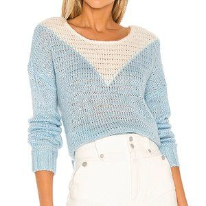 NWT Lovers & Friends ELLIE SWEATER Blue/White